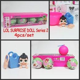 Wholesale Box Set Children - Surprise Doll LOL Baby Dolls Series 2 Children Toys Dolls Pink Jumpsuits Bottle Sucking Dancing Kids Gifts With Retail Box 4pcs set