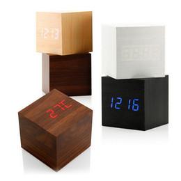 Wholesale Led Cube Tables - Cube Wooden LED Alarm Clock LED Display Electronic Desktop Digital Table Clocks Wooden Digital Alarm Clock USB AAA Voice Control Horloge