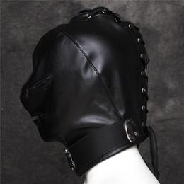 Wholesale Open Mouth Mask Sex - Black Leather Head Bondage Restraint Mask Open Mouth&Eyes Fetish Erotic Toys BDSM Sex Toys For Couples