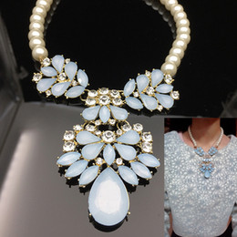 Wholesale Light Blue Pearl Necklace - Long Necklaces Luxury Pearl & Crystal & Light Blue Gemstone Chain Pendant Necklace Elegant Jewelry Accessories For Women