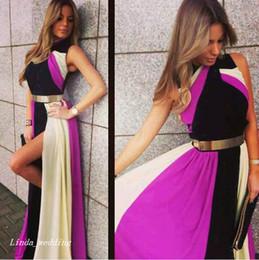 2019 multi abito colorato Prom Dress Multicolore Arcobaleno Bella Chiffon fessura del lato usura di donne Occasioni speciali Party Dress abito di sera multi abito colorato economici