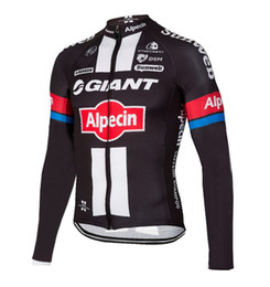 Wholesale Giant Cycling Jackets - WINTER FLEECE THERMAL ONLY CYCLING JACKETS CLOTHING LONG JERSEY ROPA CICLISMO 2016 GIANT ALPECIN PRO TEAM BLACK RED G02 SIZE:XS-4XL G45