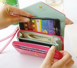 Wholesale Crown Wallet Iphone Coin - Promotion imperial crown Women Wristlet Wallets Phone Pocket Coin Case Purse For iPhone,Galaxy.Case Iphone 4 5 Wallet