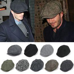 Wholesale Wholesale Womens Hats Newsboy - 2016 hot newsboy hats new fashion mens womens solid beret cap newsboy Caps Spring Forward hat Baseball cap factory price 21 color