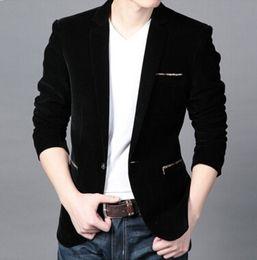 Wholesale Mens Corduroy Jacket Xl - Wholesale-Men Casual Suit Jackets Mens Black Blazer Jacket Corduroy Plus Size multi size Free Shipping