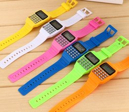 Wholesale Multifunction Calculator - Fashion Electronic Digital Watches LED Watch Silicone Sports watches For Kids Children Multifunction Calculator wristwatch 100pcs Lot