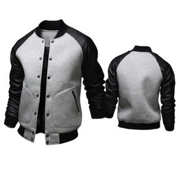 Wholesale Baseball Skins - Fall-2016 Autumn and Winter New men's big pocket fight skin sleeve baseball jacket Stand collar men's British fashion casual