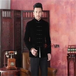 Wholesale Traditional Chinese Men Suit - Wholesale- Spring Autumn New Black Chinese Traditional Men's Jacket Long sleeve Velvet Coat Tang Suit Free Shipping S M L XL XXL XXXL
