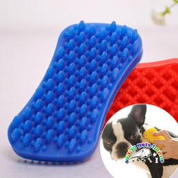 Wholesale Rubber Brush For Dogs - Short hair dog bath brush rubber brush for dogs cats dog grooming brushes shedding comb massage brush CM958