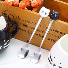 Wholesale Coffee Spoon Favors - DHL Shipping Free Lovely Cartoon white & black Cat Ceramic Handle Stainless Steel Spoon Stirring Coffee Spoon Best Wedding Favors