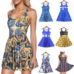 Wholesale Digital Neck Print - NEW 265 Style Sexy Girl Women Summer Doctor Who 5 the pandorica opens 3D Digital Prints Reversible Sleeveless Skater Pleated Dress Plus size