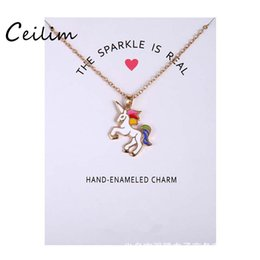 Wholesale Animal Enamel - Fashion Jewelry New Arrived Silver & Gold Color Glaze The Sparkled Is Real Unicorn Animal Clavicle Pendant Necklace With Gift Card