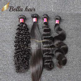 Wholesale Deep Curly Bundle Hair - Brazilian Hair Weaves Human Hair Bundles Curly Weaves Straight Body Wave Loose Deep 3pcs Hair Extensions Bellahair Double Weft 7A