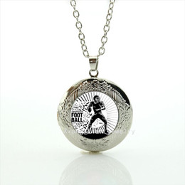 Wholesale Brave Jewelry - Memorable men jewelry locket necklaces sport rugby football sport brave and courage symbol accessory for men NF047