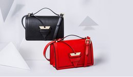 Wholesale Candy Red Flowers - high quality~w330 genuine leather triangle strap bag black beige pink red tan luxury designer brand lo inspired flop handbag shoulder
