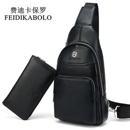Wholesale Champagne Chest - FEIDIKABOLO MenBag Summer High Capacity Chest Bag Man Travel Chest Pack Leather Men Crossbody Bag Designer Male Shoulder Bags