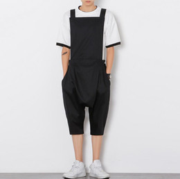 Wholesale Jumpsuit Harem Overall - Wholesale-2016 Fashion Brand Trousers Rompers For Men Drop Crotch Harem Pants Cargo Overalls Casual Mens Pants Jumpsuit