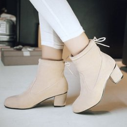 Wholesale Lace Up Material Heels - Women ankle boots with nubuck material shoes for autumn and winter with two colors and speial lace up hot sale shoes SCP045