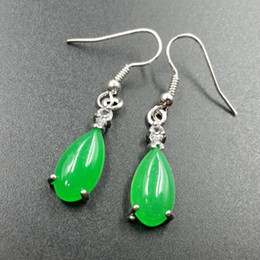 Wholesale Sterling Silver Earrings Green - Natural Jade 925 Hook Dangle Water Drop Earring Fine Jade Tear Dropping Green Jade Earrings Jewelry Girl's Gift