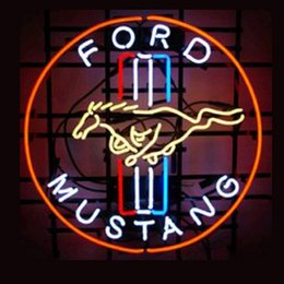Wholesale Commercial Ford - Brand New Ford Mustang Real Glass Neon Sign Beer light