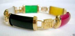 Wholesale Gemstone Buy - 2016 hot buy The pearl jade silver bracelet ring earring necklace>>>>>Natural Mix Colors Jade Gemstone Fortune Luck Link Bracelet Bangle