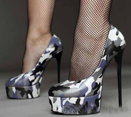 Wholesale Super High Heel 16cm - hot sale Women's Shallow Camouflage High Heels Round Toe Platform Super High Heel Pumps Thin Heel Lady Printed Shoes Heeled 16cm