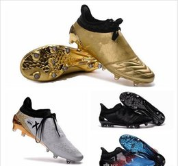 Wholesale Cheap Soft Ground Soccer Cleats - New Soccer Shoes X 16+ Purechaos Firm Ground Cleats Cheap Sale Football Boots Botas De Futbol High Tops Soccer Cleats FG AG 39-46