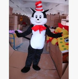 Wholesale Cat Mascot Costume Fancy Dress - 2016 workmanship and high quality Seuss The Cat in The Hat Mascot Costumes Fancy Dress Halloween Party Adult Size Free Shipping
