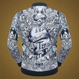Wholesale Bow Cardigan Cotton - Free Shipping Tide Men's Leather Men's Fashion Jacket Quick Sell Soup Skeleton Flower Style Fashion Fancy Cardigan Baseball Jacket