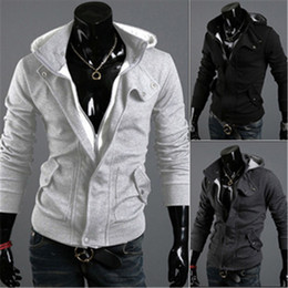 Wholesale Velvet Collar Jacket Wholesale - Wholesale- Male Slim casual jacket men fall and winter clothes plus velvet hooded windproof personality the oblique Slim sweater collar men