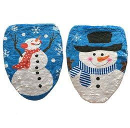 Wholesale Toilet Cute Free - Cute Cartoon Snow Man Toilet Seat Cover Polyester + Plush Printed Christmas Decorations Toilet Mats 20pcs lot Free Shipping