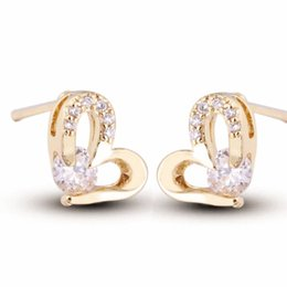 Wholesale Mini Cluster - Mini Small 18K Yellow Gold Clear Crystal Cluster Cubic Zirconia CZ Heart Stud Earrings for Kids
