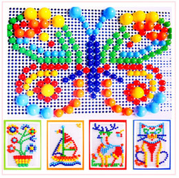 Wholesale Baby Gift Packs - Creative Toys Patterns Mosaic Pegboard Packed 296 Mushroom Nails Jigsaw Puzzle Toy Colorful Baby Gifts Free shipping