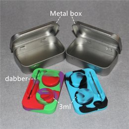 Wholesale Inside Bar - 2016 New Product metal box with silicone inside 6ml non-stick silicone butane hash oil wax containers 2pcs 3ml silicone jars inside DHL
