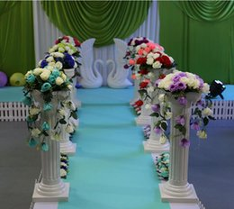 Wholesale Wedding Plastic Roman Props - Height 89cm (35 inch) Roman Road Lead Rome Plastic Column With Flower For Wedding Mall Opened Props free shipping