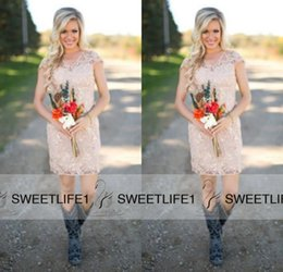 Wholesale Very Dark Red Dresses - Country Beach Short 2016 Very Cheap Lace Bridesmaids Dresses with Capped Sleeves Small V Neck Hot Selling Summer Maid of Honor Gowns