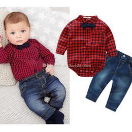 Wholesale Denim Stripe Shirt - Boys lattice stripe bowknot suits rompers children Long sleeve shirt rompers+Denim trousers 2 pcs set gentlemen suits baby clothes B