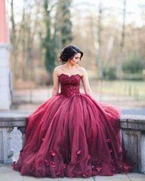 Wholesale Romantic Evening Dresses Women - Romantic Burgundy Red Women Formal Dresses Evening Wear Sweetheart Appliques Corset Plus Size Ruched Flowers A Line Long Prom Gowns 2016