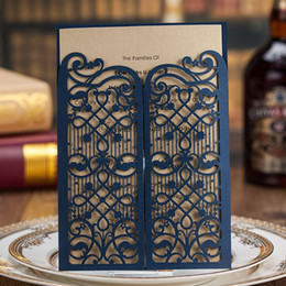 Wholesale Laser Cutting Patterns - Dark Blue Laser Cut Pattern Gold Sheet Wedding Invitations Cards, By Wishmade, CW5102