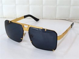Wholesale Green Squares - new retro sunglasses men designer sunglasses He rimless frame gold plated square frame retro steampunk style HE wu come with original case