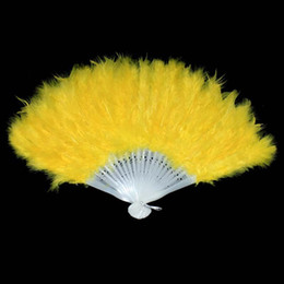 Wholesale Feather Fans Burlesque - 2016 Beautiful Marabou Feather Hand Fan Flamenco Burlesque Costume For Dance 12 Colors