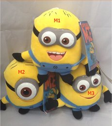 Wholesale Despicable Toy Inch - Wholesale-Free Shipping Retail Despicable me Plush Toy 7 inch 17cm Minion Jorge Stewart Dave NWT with tags 3D eyes