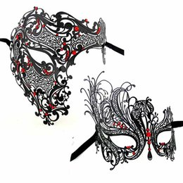 Wholesale White Metal Masks - Party Masks Sexy Face Mask Black Gold Silver Red Skeleton Men Woman Scary Venetian Masquerade Half Skull Metal Halloween Costume Party Mask