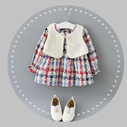 Wholesale Wool Baby Dress - free shipping 2016 baby clothes wholesale new autumn style Bohemian Plaid dress + Wool vest 2pcs suit set