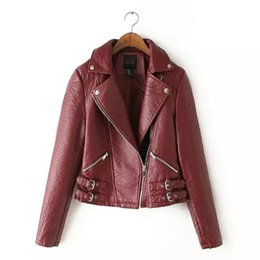 Wholesale Large Lapel Leather - Wholesale-Winter Women's Jacket Large lapel hem belt buckle motorcycle washing PU leather Coat Women XY YD-20