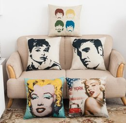 Wholesale Beatles Pillows - Marilyn Monroe Beatles Cotton Linen Pillow Case square Cushion Covers Throw pillow covers cases Car Chair Home sofa Bedding set