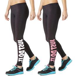 "Wholesale Printed Yoga Pants - Women Sport Sex Yoga Pants "" JUST DO IT "" Print Capris Elastic Tight fitting Leggings Slim Fitness Pencil Fashion Trousers PWDK12 WR"