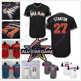 Wholesale Usa Shorts Men - Giancarlo Stanton Jersey Men Women Youth Cool Base USA Baseball Flexbase 2017 All Star Weekend Nickname Cruz Miami Marlins Jerseys Home Aawa