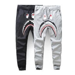 Wholesale Winter Harem - Men's Black Grey Shark Pant Trousers Fashion WGM Harem Pants Autumn Winter Fleece Sportswear Long Trousers Jogger Running Sweatpant