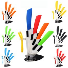 """Wholesale Knife Acrylic Stands - brand high quality kitchen knife ceramic knife set 3"""" 4"""" 5"""" 6"""" inch + peeler + Transparent Acrylic Stand kitchen tools"""